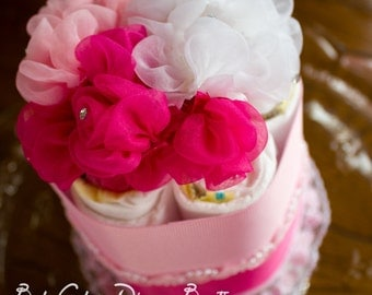 It's a Girl Diaper Cake, Baby Shower Diaper Cake, Pink Roses and Pearls, mini pink diaper cake, Baby Shower Centerpieces
