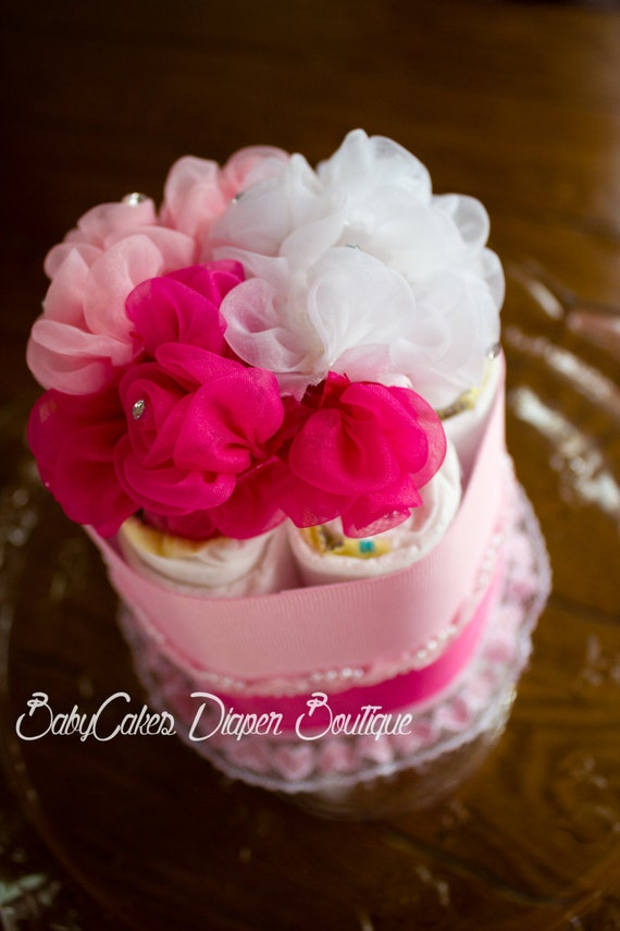 5 Pink Baby Girl Diaper Cake Centerpieces | Baby Shower Diaper Cake | Pink Roses and Pearls | Mini Diaper Cake | Baby Shower Centerpieces