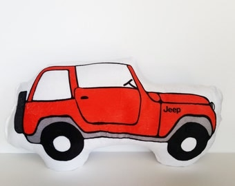 Plush Minky Red Jeep Pillow, Graduation Gift