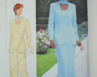Butterick Sewing Pattern 5940 Misses' Jacket, Top, Skirt, Pants and Scarf in Size 8, 10, 12.