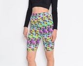 Vintage 80's Abstract Geometric Prints Neon Colors Biker Shorts