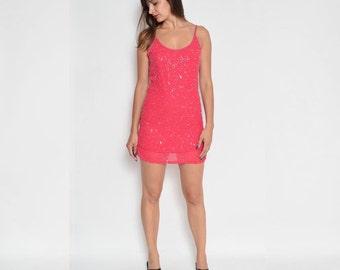 Vintage Pink Sequin Beaded Mini Dress