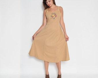 Vintage 80's Embroidered Sleeveless Dress