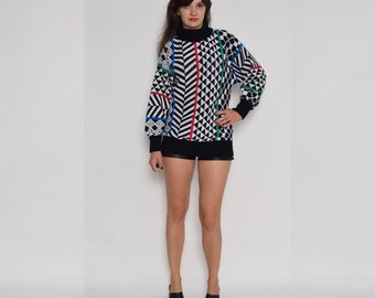 Vintage 80's Geometric Black And white Sweater