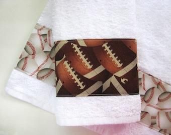 Towels, Soccer, Basketball, Football, baseball, bath towels, hand towels, boys bathroom, bathroom decor, august ave, bathroom, bath towel
