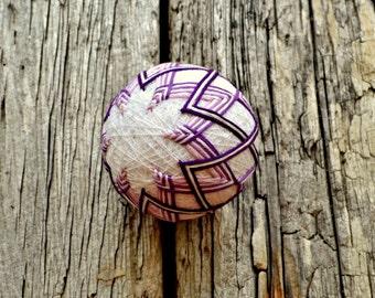 Purple Temari Ball, Violet Japanese Ball, Chevron Temari Ball, Japanese Folk Art, Ball Ornament, Purple Stripe Temari, Ornament Ball Stripey