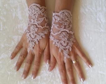 milk chocolate Wedding gloves free ship happiness  bridal gloves  fingerless lace  gloves milk chocolate gloves french lace gloves free ship