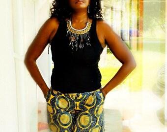 African Print Shorts, Ankara Beach  Shorts,  Brown African Shorts, Women African Print shorts, African Print Summer Shorts, Tribal Shorts