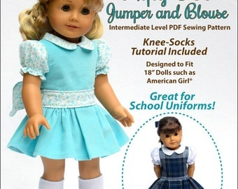 Pixie Faire My Angie Girl Nifty 50's Jumper and Blouse Doll Clothes Pattern for 18 inch American Girl Dolls - PDF