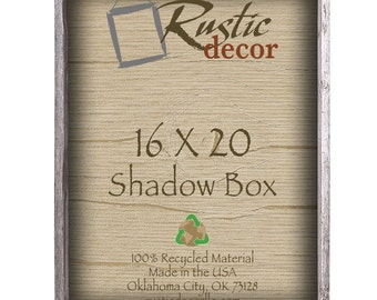 "16x20 -3"" deep Rustic Barn Wood Collectible Shadow Box"