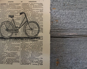 Vintage Bicycle Dictionary Print, Vintage Dictionary Print, Wall Art