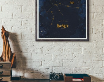 Astrological constellation star sign zodiac art print, wall art, new baby, teen, children, family decor, office decor GOLD Customised