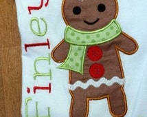 Personalized Christmas Gingerbread Boy Shirt, Romper, Dress or Onesie