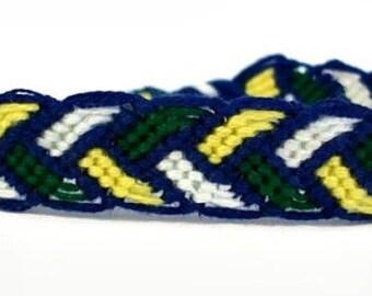 Blue, Green, White & Yellow Bordered Braid Pattern Macrame Embroidery Friendship Bracelet