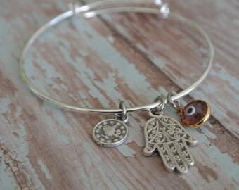 Evil eye bracelet // Arttisan Swarovski Evil Eye protector // hamsa hand charm // hand of fatima // coin charm // adjustable bangle bracelet