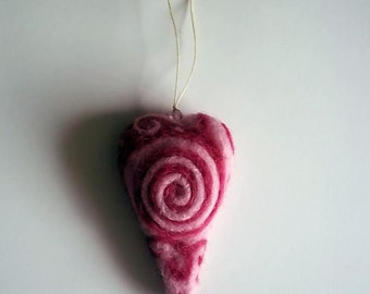 Needle Felted Heart Decoration, Pink Heart, Needle Felted Ornament, 3D Heart, Merino Wool, Unique, OOAK, Swirly Heart, Needle Felt Heart