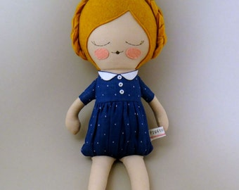 "Clara 18"" cloth doll, rag doll, customizable, blue and white polka dots with braids"