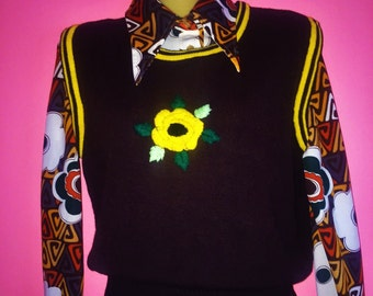 70s Knitted Flower Sweater Vest, Size Small