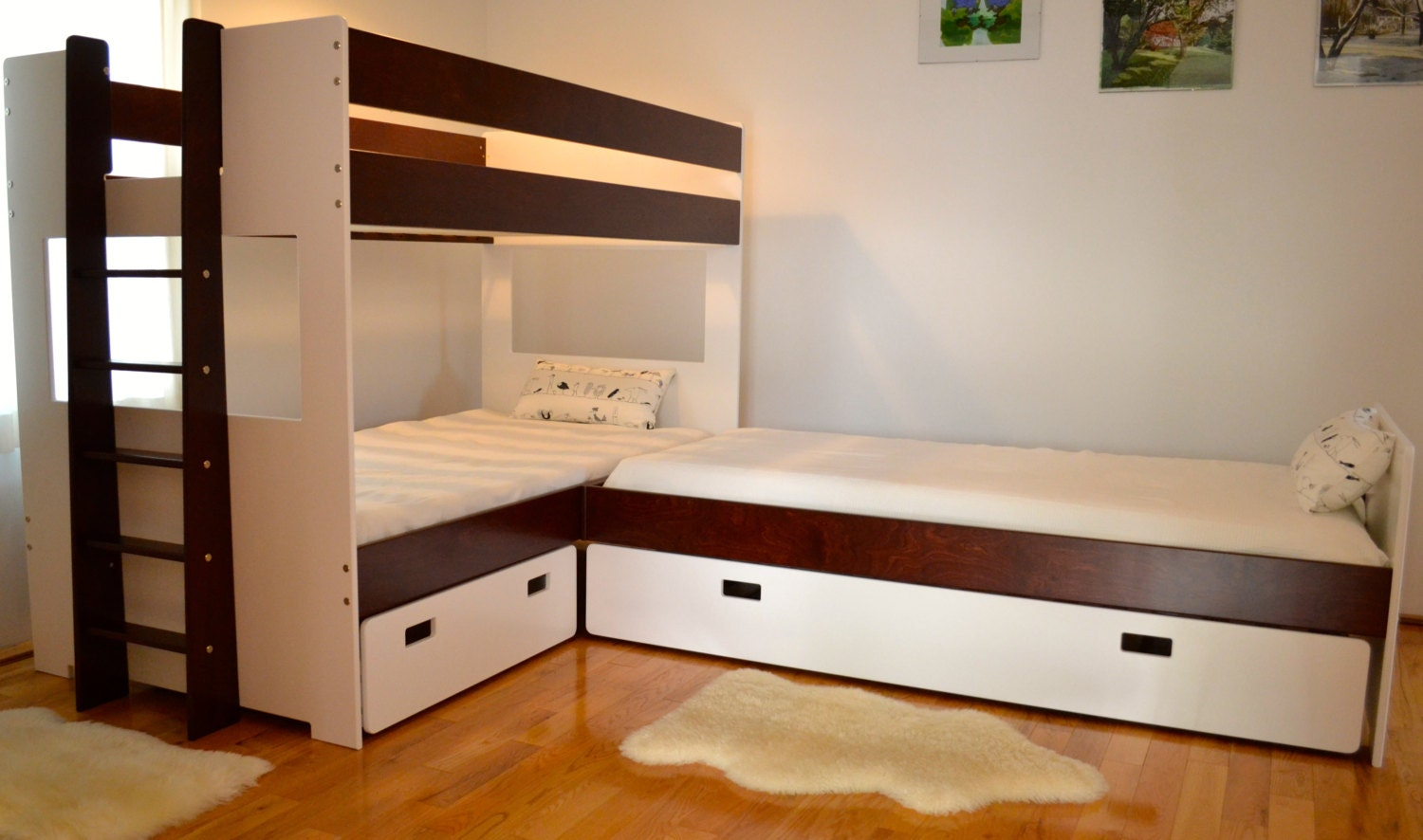 L Shaped Bunk Bed Combination