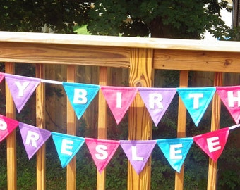 Happy Birthday and Custom Name Pennant Banner - Your Choice of Colors
