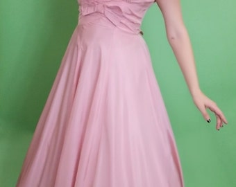 1950 Vintage Pink Taffeta Dress