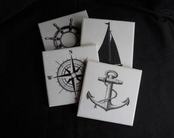 Nautical Coasters ~ Tile Coasters ~ Housewarming Gift ~ Nautical Decor ~ Table Coasters ~ Beach Decor ~ Home Decor ~ Black & White Coasters