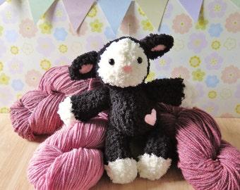 Black Lamb Plush Toy - Knit Lamb doll - Stuffed lamb - Knitted Lamb - Black sheep plush toy