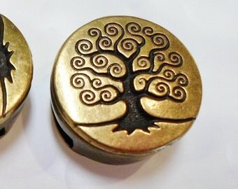 10mm Flat Brass Tree of Life button Slider with Side to Side Hole for 10mm Flat leather bracelets, jewelry making supplies, cuir supplier