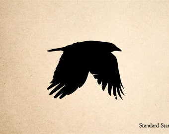 Flying Crow Rubber Stamp - 2 x 2 inches