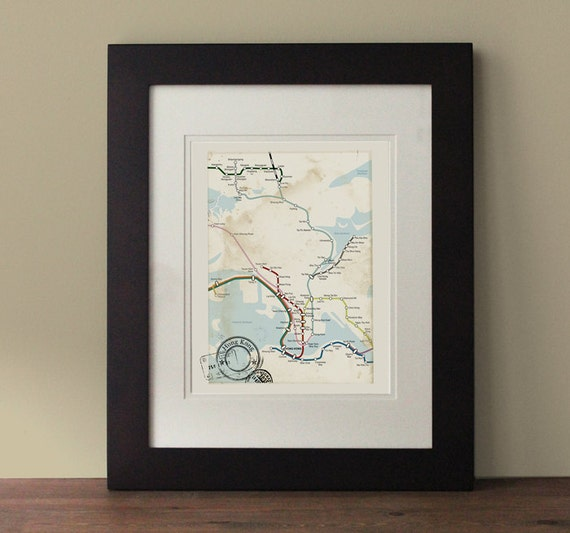 Wall Decoration Hk : Hong kong map vintage inspired wall art