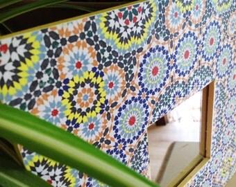 Moroccan Arabic Decor - Mosaic Framed Mirror on a Wooden Frame