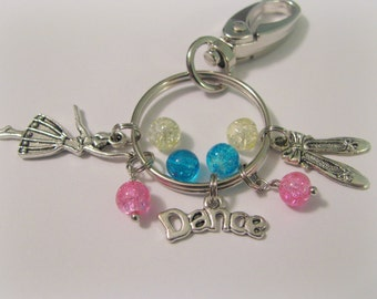 DANCE KEY CHAIN - Dance Themed Purse or Bag Clip - You Choose Bead Color