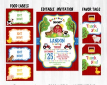 Farm Party Invitations with Food Labels & Party Tags!! - INSTANTLY DOWNLOADABLE! Edit Invitations and Food Labels with Adobe Reader now!