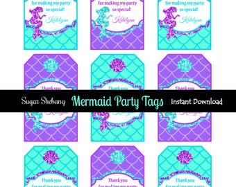 Mermaid Party Tags - Instantly Downloadable and Editable File - Personalize Name with Adobe Reader! Mermaid Party Supplies