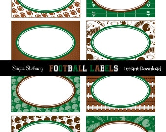 Football Party Labels - INSTANTLY Downloadable and EDITABLE File!! Personalize at home with Adobe Reader NOW! - Football Party Supplies