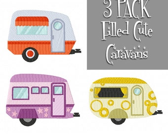 CARAVAN Multipack ~ 3 Filled Caravan Machine Embroidery Designs - Instant Download ~ Let's Go On Holidays!