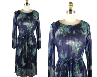 1970s Floral Dress in Navy and Teal / 70s Vintage Sheer Dress with Feather Florals