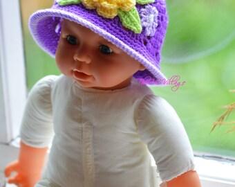 Crochet girl Hat, Purple Cloche hat for children, newborn with yellow flower Winter style