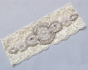 Ivory / Off White Bridal Garter, Crystal Rhinestone Pearl Keepsake Garter, Stretch Lace Wedding Garter, Single Custom Garter
