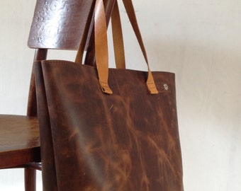 Handmade Leather Shopper bag with inside pocket-Handmade Leather Tote Bag