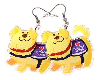 Cute Service Dog Earrings, Service Dog, Dog lover, guide dog, emotional support, labrador retriever, golden lab, kawaii