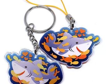 Shark Keychain, Shark Phone Charm, sharks, shark week, shark gift, sharks, great white shark, adorable shark, shark party, shark art