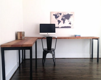 "The ""Sawyer"" L-Shaped Desk - Reclaimed Wood & Steel - Industrial Desk - Custom Lengths"