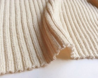 2x2 Rib Natural White Sustainable Cotton by the Half Yard