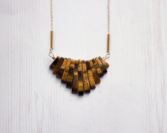 Tigers Eye Geometric Necklace With Brass Tubes