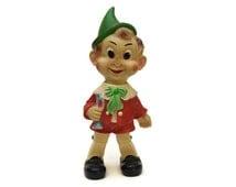 Vintage Pinocchio Doll. Vintage Rubber Squeak Toy. Ledra Plastics 1960s Rubber Toy Squeeze Doll.