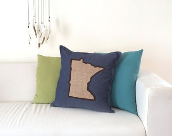 State Shaped Applique Pillow - Decor - Minnesota