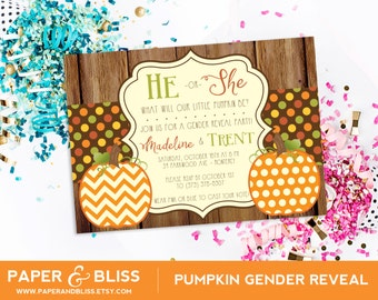 Pumpkin Gender Reveal Party Invitation - Fall Colors - Autumn