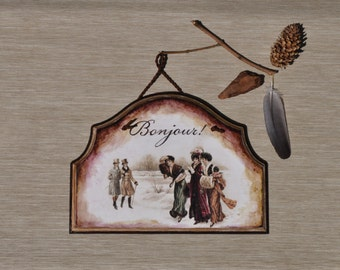 Hanging decoration, Bonjour sign, french decor, wall hanging, wall decoration, romantic home, front door sign, housewarming gift, victorian