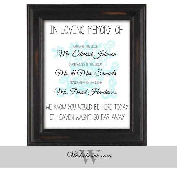 In loving memory sign wedding signs memorial signs for In loving memory wedding sign
